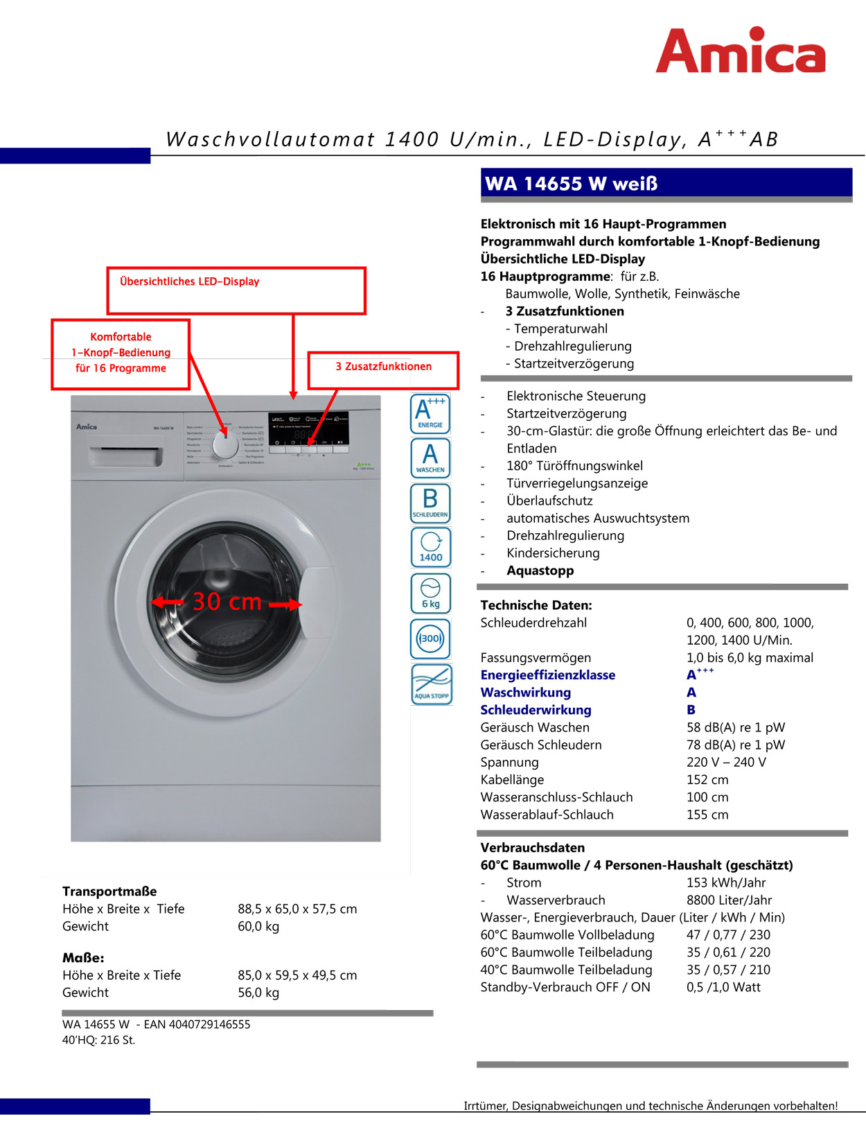 amica wa 14655 waschmaschine eek a neu ovp 6 kg. Black Bedroom Furniture Sets. Home Design Ideas