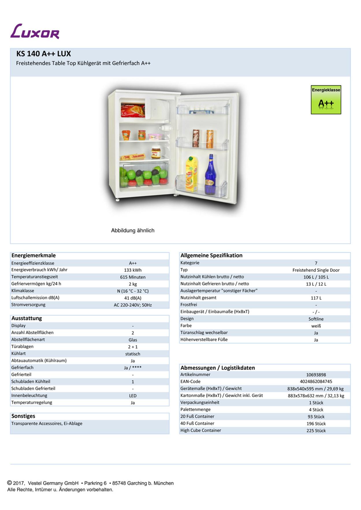 Luxor KS 140 A++ LUX Kühlschrank mit Gefrierfach / EEK: A++
